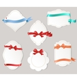 Set of paper form with satin ribbons and bows vector image