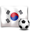 A soccer ball in front of the Korean flag vector image