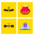 assembly flat halloween spider bat ghost book vector image vector image