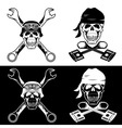 biker theme labels with skull wrenches and pistons vector image