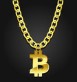 bitcoin iconical symbol on golden chain vector image vector image