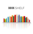 bookshelf lined with books in retro color with vector image