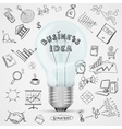 bulb with drawing business success strategy plan vector image