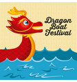 cartoon red dragon boat sea festival vector image