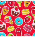cartoon sweets cute characters face background vector image