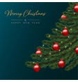 christmas card of red bauble balls in pine tree vector image