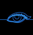 continuous line drawing woman eye neon concept vector image vector image