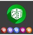 Dice game cube icon flat web sign symbol logo vector image