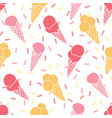 fun ice cream and sprinkles seamless pattern vector image