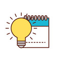 graphic design notepad and bulb idea creativity vector image