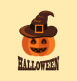 halloween poster with pumpkin in witch hat vector image vector image