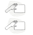 Hand sketches holding cards vector image vector image