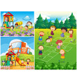 happy kids playing in playground vector image vector image