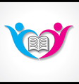 happy students with book icon educational symbol vector image