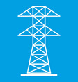 high voltage tower icon white vector image vector image