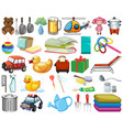 large set household items and many toys vector image