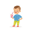 little preschool kid standing with cocktail in vector image vector image