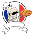 Male Chef Holding Up A Pizza Over A Blank Banner vector image