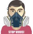 man in a half respirator coronavirus prevention vector image