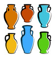multicolored amphoras icons - images with copy vector image vector image