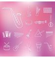 music instruments outline icons vector image