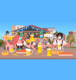 people in masks drinking beer oktoberfest party vector image