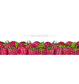 raspberry border seamless pattern with fresh ripe vector image
