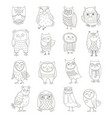 set line owls stylized hand drawing vector image