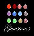 set of beautiful colored gemstones vector image