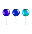 set violet and blue round shaped foil balloons vector image