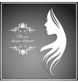 silhouette of a girl with long hair and beautiful vector image