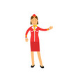 stewardess in red uniform doing a welcome gesture vector image vector image