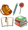 Sticker set with education objects vector image vector image