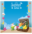 Suitcase with Summer Objects on the Beach Frame