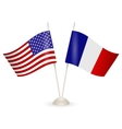 table stand with flags france and usa vector image vector image