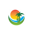 travel sea island sunset logo vector image vector image
