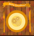 with golden plate on the table vector image vector image