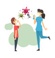 woman with a boy kills viruses with a balloon vector image