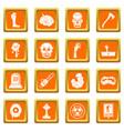 zombie icons set orange vector image vector image