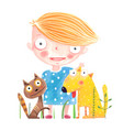 baby girl with dog and cat vector image