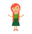 little redhead girl with wide open arms isolated vector image