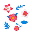 paper flowers and tropical leaves vector image