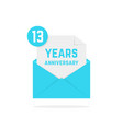 13 years anniversary icon in open letter vector image vector image
