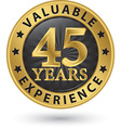 45 years valuable experience gold label vector image