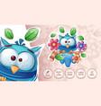 bird in flower - cute sticker vector image