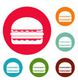 burger icons circle set vector image