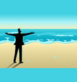 businessman open his arms at the beach vector image vector image