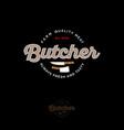 butcher vintage logo knifes ax lettering vector image vector image