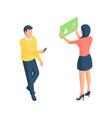 cartoon people browsing social network on modern vector image vector image
