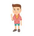 caucasian little boy showing ok sign vector image vector image